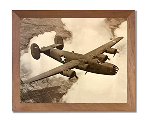 B-24 Liberator Bomber Military Aircraft Jet Airplane Wall Picture Honey Framed Art Print