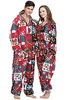 Party Pajama Women's & Men's Ugly Christmas Fleece Hooded One-Piece Pajamas Onesies
