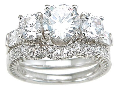 Vintage Style Cubic Zirconia CZ Three Stone Wedding and Engagement Ring Set in Size 6