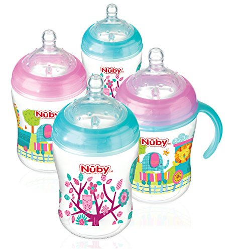 nuby-natural-touch-decorated-bottles-270-ml-pink-aqua-pack-of-4