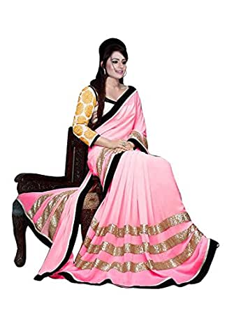 RadadiyaTRD Astounding Pink Color Embroidered Faux Georgette Saree with Blouse Piece available at Amazon for Rs.999