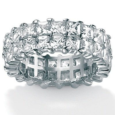 PalmBeach Jewelry DiamonUltra™ Cubic Zirconia Platinum Over Sterling Silver Double Row Ring
