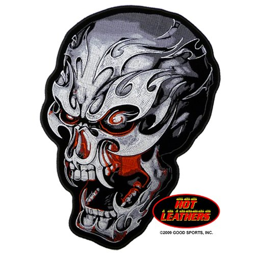 """Embroidered Iron On Patch - Electric Skull With Fangs 4"""" X 3"""" Biker Patch"""