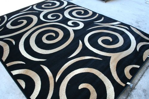 00237 Black Beige Ivory Swirly 5x7 (5'2x7'2) Area Rug Oriental Carpet Large New