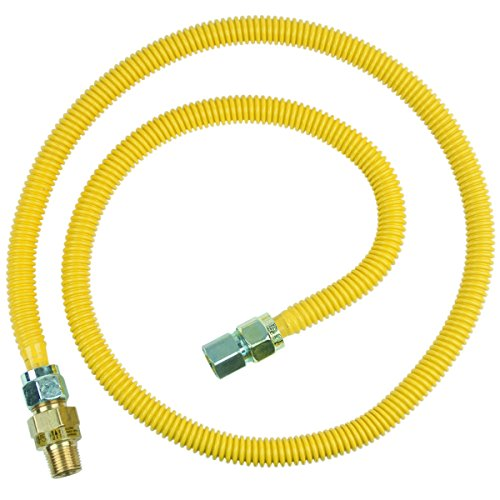 Brasscraft Cssc45E-60 P 1/2-Inch Mip Efv X 1/2-Inch Fip X 60-Inch Safety+Plus Gas Appliance Connector, 5/8-Inch, Od 93,200 Btu