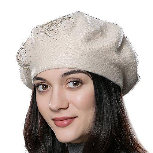 URSFUR-Frauen-Mode-Kaschmir-Wolle-Baskenmtze-Hochwertige-Strickmtze-mit-Blumen-Muster