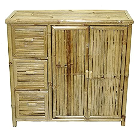 Bamboo Dresser Chest with 3 Pull Out Drawers Perfect for a Kitchen Dining Buffet or Bed Room Furniture Piece