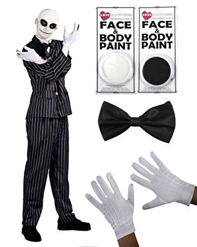 """Ilivefancydress - Costume da Mr Jack di """"Nightmare Before Christman"""" composto da completo gessato, farfallino, guanti bianchi, makeup per viso e cuffia per effetto calvo"""