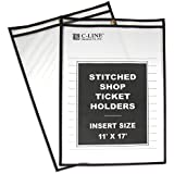 C-Line Stitched Shop Ticket Holders, Both Sides Clear, 11 x 17 Inches, 25 per Box (46117)