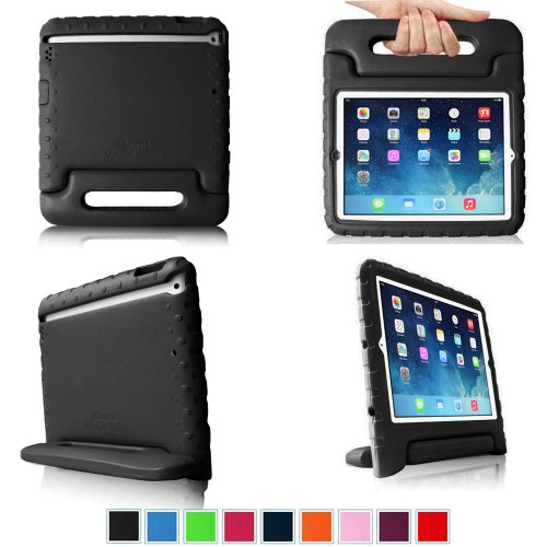 Fintie Apple Ipad Air / Ipad 5 Kiddie Series Light Weight Shock Proof Convertible Handle Stand Cover Case Kids Friendly - Black front-274470