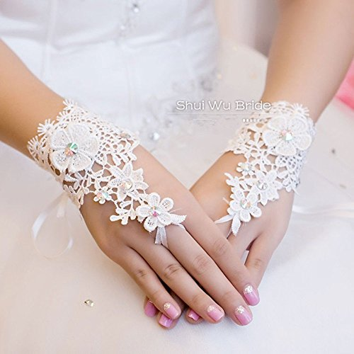 Qyz@ Korea Style Fashion Flower Lace Diamond Short Bride Gloves Wedding Accessories