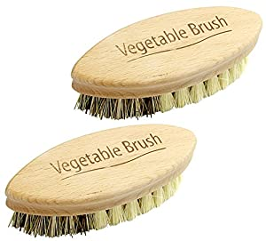 Natural Bristle Vegetable Brush With English Text (Pack of 2)