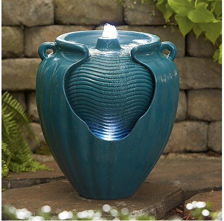 Teal Glazed Pot Fountain