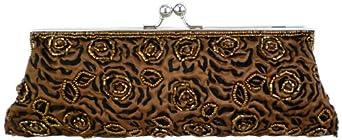 Brown Unforgettable Vintage Rose Pattern Handmade Beaded Baguette Evening Bag Clutch Handbag Purse w/2 Detachable Chains