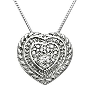 Sterling Silver Textured Diamond Heart-Shaped Pendant Necklace , 18""