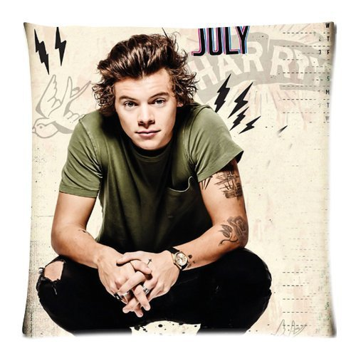 most hot popular music band stars one direction Harry Styles personalized cool Custom Cotton & Polyester Soft Square Zippered Pillow Case Cover 18
