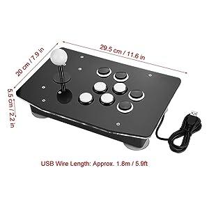 Akozon Arcade Stick, Zero Delay Joystick USB Interface Game Metal Handle Arcade Game Controller for Arcade Stick PC Games Mame Raspberry PI