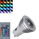 KCRIUS(TM) Gu10 3w 16 Color Change RGB LED Bulb Party Light 85v-265v  IR Remote Control