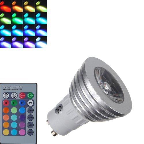 Wongmarket Generic Gu10 3W 16 Color Change Rgb Led Bulb Party Light 85V-265V + Ir Remote Control
