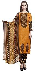 Divyaemporio Women'S Faux Cotton Mustard Salwar Suits Dress Material