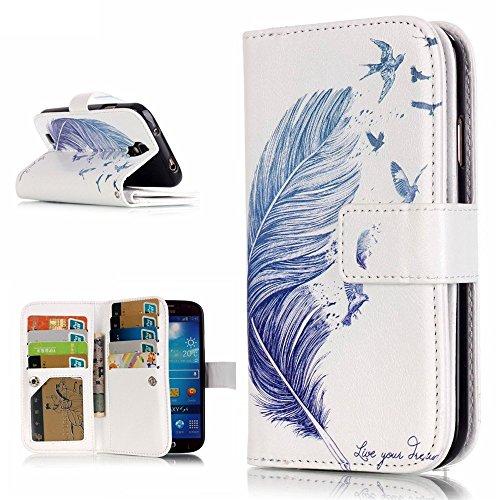 アイビー Samsung Galaxy サムスン ギャラクシー S4(i9500)SC-04E SIV 対応ケース 「ブルーの羽」 浮き彫りデザイン エンボス加工 PUレザーケース 手帳型ケース IDカード/クレジットカード入れx9 名刺入れ 写真入れ 磁気フリップ閉鎖 横開き スタンド機能付 卓上対応 防塵 保護 Samsung Galaxy サムスン ギャラクシー S4(i9500)SC-04E SIV 用