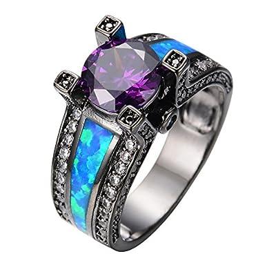 Rongxing Jewelry® Opal Rings Women's Purple Amethyst Black Gold Filled Rings