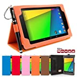 Snugg Nexus 7 2 Case in Orange Leather for 2013 2nd Gen with Lifetime Guarantee - Flip Stand Cover with Elastic Hand Strap, Stylus Loop and Premium Nubuck Fibre Interior - Automatically Wakes and Puts the Google Nexus 7 2 to Sleep