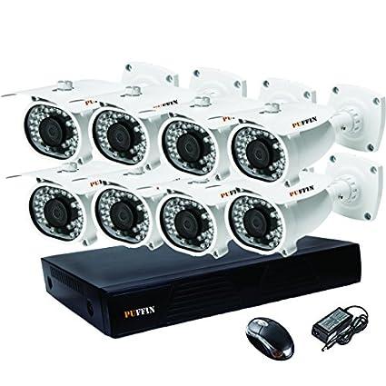 Puffin 8-Channel Dvr, 8(PF-6C833) 1000TVL Bullet CCTV Cameras