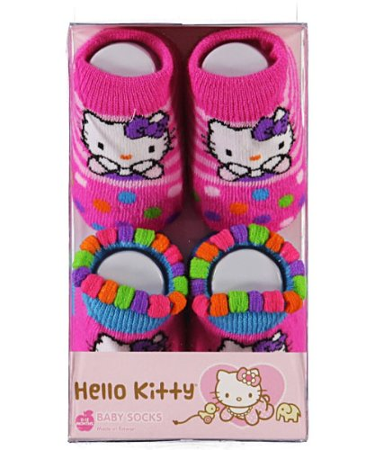 Hello Kitty Baby Booties Socks, 2 Pair 0-12 Months.