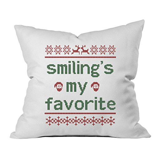 Oh, Susannah Smiling's My Favorite Christmas Throw Pillow Cover (1 18 x 18 Inch, Green, Red) (Dvd Insert Covers compare prices)