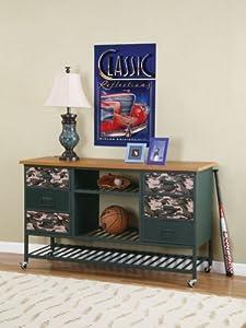 Kids Bedroom Storage Dresser with Army Camouflage Design and Dark Green Frame