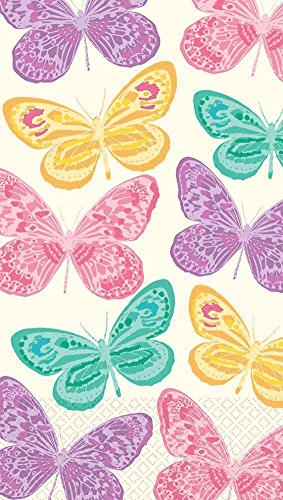 Amscam 16 Count Spring Butterflies Guest Towels, Multicolor