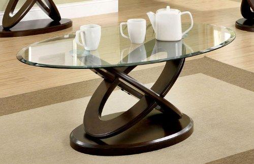 Atwood Dark Walnut Finish Glass Top Coffee Table
