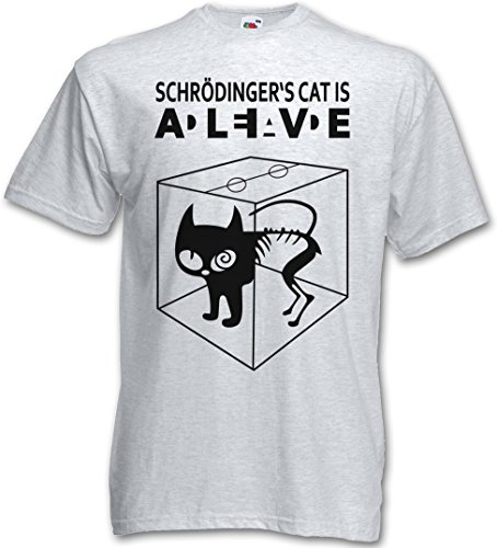 SCHRÖDINGERŽS CAT IS ALIVE DEAD I T-SHIRT - gatto The Big Schroedinger chat TV Bang Theory Geek Nerd Taglie S - 5XL