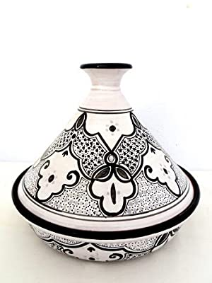 Genuine Traditional Large Glazed Clay Cookable Tagine Black And White Made By Le Souk by le souk