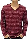 (マルカワジーンズパワージーンズバリュー) Marukawa JEANS POWER JEANS VALUE Tシャツ メンズ 長袖 ロンT ボーダー ニットソー ミル天竺 4color M ワイン