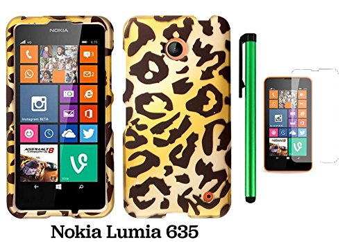 Nokia Lumia 635 Premium Pretty Design Protector Hard Cover Case (Us Carrier: T-Mobile, Metropcs, And At&T) + Screen Protector Film + 1 Of New Assorted Color Metal Stylus Touch Screen Pen (Gold Leopard)