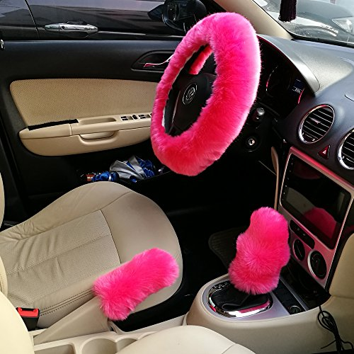 Steering Wheel Cover Set EZYKOO Pink Fully Wool Soft Car Steering Wheel Cover with Handbrake Shift Knob Covers 14.96