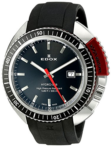 Edox-Mens-53200-3NRCA-NIN-Hydro-Sub-Analog-Display-Watch-with-Black-Band