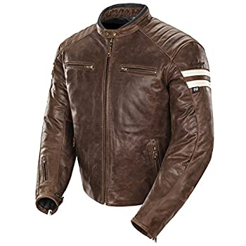 Joe Rocket Classic '92 Men's Leather Motorcycle Jacket (Brown/Cream, Medium)