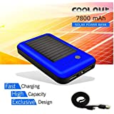 COOLNUT® Solar Power Bank 7800mAh, High Quality Li-ion External Battery, Portable Charger Backup Pack With Intelligent Power Saving Dual USB, Compatible With Iphone 6s, 6 Plus, 5s, 5c, 5, 4s, Ipad Mini, Ipod, Samsung Galaxy S6, S5, S4, Note, Nexus, HT