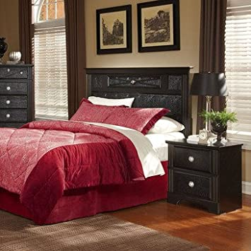 Standard Furniture Portia 2 Piece Headboard Bedroom Set in Faux Alligator & Black