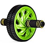 Crown Sporting Goods Ab Wheel with Dual Non-Skid Wheels and No-Slip Comfort Grips, Green