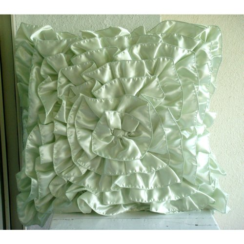 Mint Green Ruffles - 16X16 Inches Square Decorative Throw Mint Green Satin Pillow Covers With Satin Ruffles front-401858