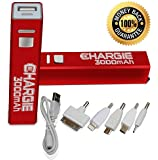 Pow'R-Up Chargie 3000mAh Mobile Cell Phone Charger, Meet Travel Power Bank Needs w/ Premium Samsung Portable Rechargeable Battery Chargers for Apple iPhone 5, 5S, 4S, iPad, iPod, Fits All ATT, Verizon Wireless, Virgin & Sprint Phones - Enjoy Freedom!
