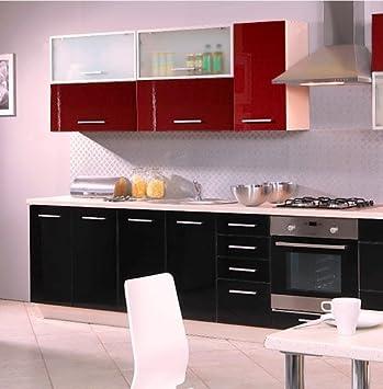 Kuchenzeile 16261 Kuchenblock jersey / schwarz + deep red Hochglanz 260cm