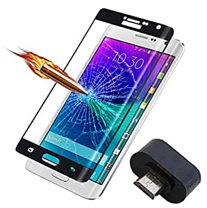 ( Pack of Two ) Micro USB OTG Adaptor & Full Screen Two Anti-scratch Laser-cut tempered glass Protectors with Curved Edge, Cover Edge-to-Edge, Protect Your Phone from Drops & Impacts, HD Clear, Bubble-free Shockproof It's pressure-resistant & delivering an outstanding durability for your Smart Phone - Samsung Galaxy A7