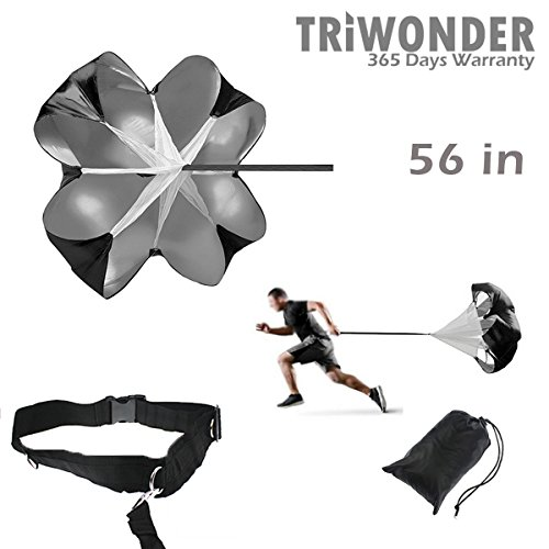 Triwonder 56 inch Speed Training Resistance Parachute Running Chute Power (Black - 56in)