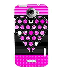 Dotted Heart Fashion 3D Hard Polycarbonate Designer Back Case Cover for HTC One X