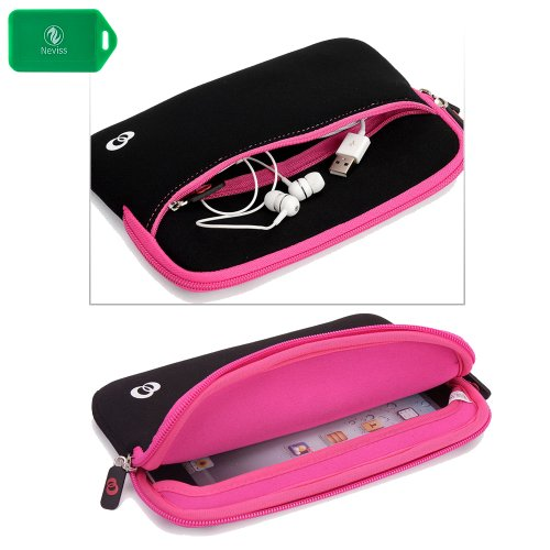 SLIM NEOPRENE SLEEVE WITH FRONT POCKET FOR ACCESSORIES in BLACK/PINK TRIM for Linsay 7″ Tablet w/Google Android Jelly Bean